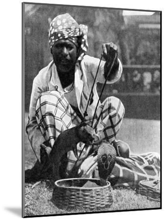 Indian Snake Charmer with Mongoose and Cobra, 1936--Mounted Giclee Print