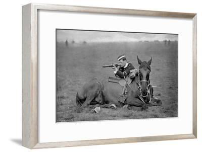 A Dismounted Lancer at a Skirmishing Display, 1896-Gregory & Co-Framed Giclee Print