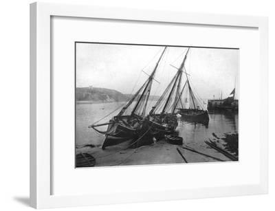 Boats in Tenby Harbour, Pembrokeshire, Wales, 1924-1926- Francis & Co Frith-Framed Giclee Print