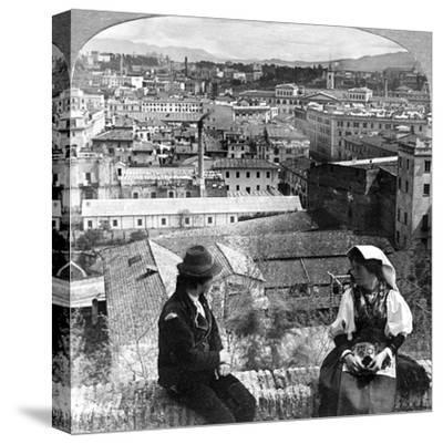 Aventine Hill and the Alban Hills, Rome, Italy-Underwood & Underwood-Stretched Canvas Print