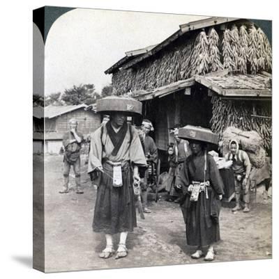 Pilgrim Beggars Beating Little Gongs, Near Lake Kawaguchi, Japan, 1904-Underwood & Underwood-Stretched Canvas Print