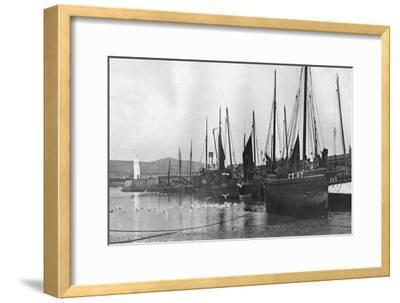 Fishing Boats in Port St Mary Harbour, Isle of Man, 1924-1926--Framed Giclee Print