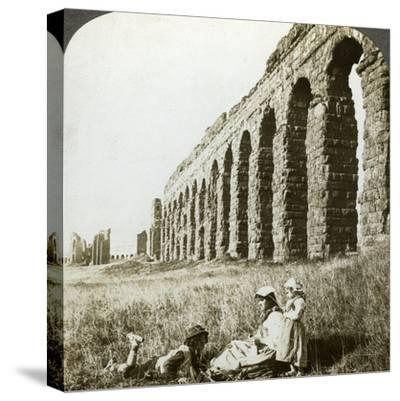 Aqueduct of Claudius and the Campagna, Rome, Italy-Underwood & Underwood-Stretched Canvas Print