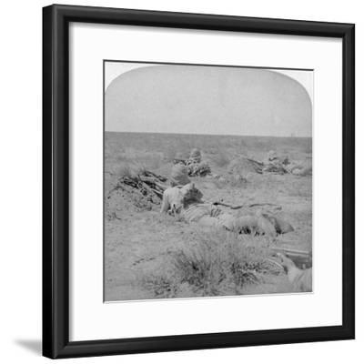 On the Fighting Line with the Queen's Bravest, Modder River, South Africa, 1900-Underwood & Underwood-Framed Giclee Print