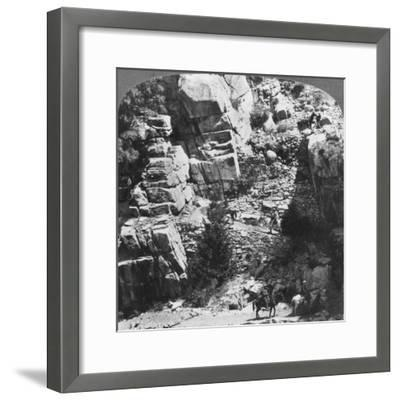 Climbing the Steep Zig-Zag Trail at the Eastern End of Yosemite Valley, California, USA, 1902-Underwood & Underwood-Framed Giclee Print