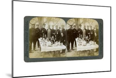 Lunch with General Nogi at Japanese Headquarters, Port Arthur, Manchuria, 1904-Underwood & Underwood-Mounted Giclee Print