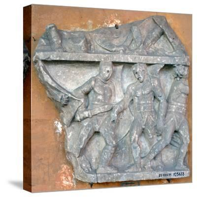 A Bas-Relief of a Fight Between Secutor and Retiarius, 3rd Century, Rome--Stretched Canvas Print