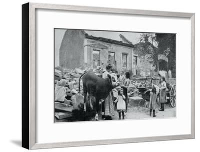 French Refugees Return to their Abandoned Village, Artois, World War I, 1915--Framed Giclee Print