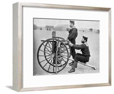 Royal Navy Maxim Gun Practice at Whale Island, Portsmouth, Hampshire, 1896-Gregory & Co-Framed Giclee Print