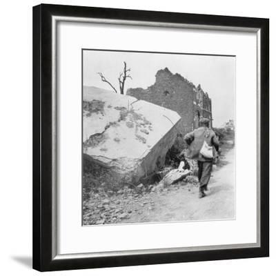 Blockhouse Destroyed by a Mine, Lomme, Near Armentières, France, World War I, C1914-C1918- Nightingale & Co-Framed Giclee Print