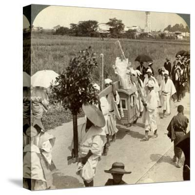 Funeral Procession of a Rich Buddhist, on the Road to Sakai, Looking Towards Osaka, Japan, 1904-Underwood & Underwood-Stretched Canvas Print