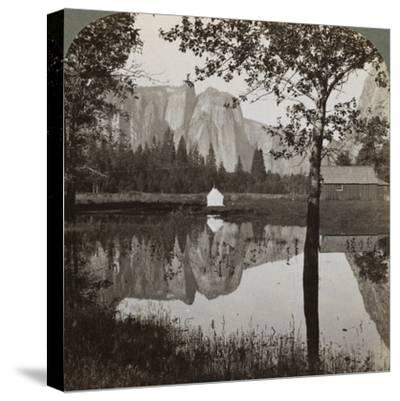 Mirror View of Cathedral Rocks, Yosemite Valley, California, USA, 1902-Underwood & Underwood-Stretched Canvas Print