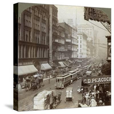 State Street, Chicago, Illinois, USA, 1908-Underwood & Underwood-Stretched Canvas Print
