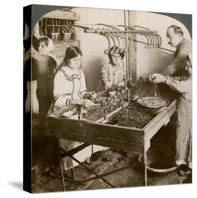 Manufacturing Silk, Syria, 1900s-Underwood & Underwood-Stretched Canvas Print