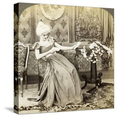 The Colonial Maiden's Dilemma, Two Proposals, Which Will Be Accepted-Underwood & Underwood-Stretched Canvas Print