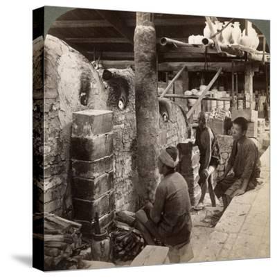 Workmen Watching Kilns Full of Awata Porcelain, Kinkosan Works, Kyoto, Japan, 1904-Underwood & Underwood-Stretched Canvas Print