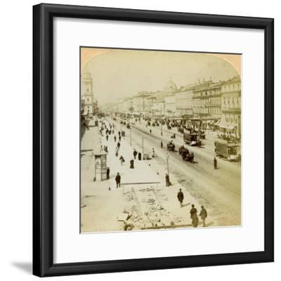 Nevsky Prospekt, the Principal Street of St Petersburg, Russia, 1897-Underwood & Underwood-Framed Giclee Print