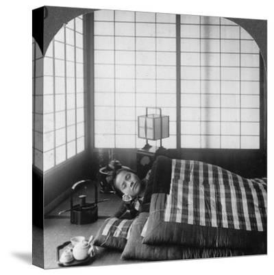 A Geisha Sleeping in a Tea House, Hikone, Japan, 1904-Underwood & Underwood-Stretched Canvas Print