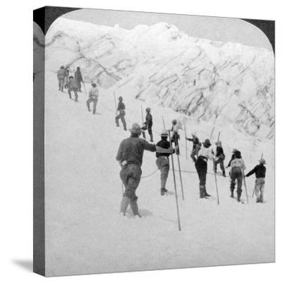 Ascending a Steep Snowfield, Stevens Glacier, Mount Rainier, Washington, USA-Underwood & Underwood-Stretched Canvas Print