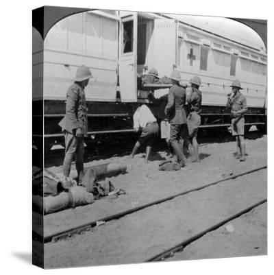 Lifting Wounded Soldiers onto a Hospital Train, East Africa, World War I, 1914-1918--Stretched Canvas Print