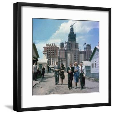The Construction of the Main Building of Moscow State University on Lenin Hills--Framed Giclee Print