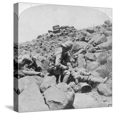 The Dying Bugler's Last Call, a Battlefield Incident, Gras Pan, South Africa, 1900-Underwood & Underwood-Stretched Canvas Print