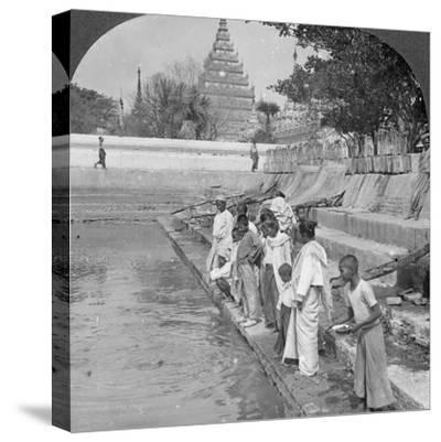 Pilgrims Feeding Holy Turtles, Arakan Pagoda, Mandalay, Burma, 1908--Stretched Canvas Print