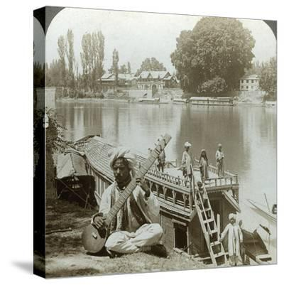 Houseboat Party, Jhelum River, Kashmir, India, C1900s-Underwood & Underwood-Stretched Canvas Print