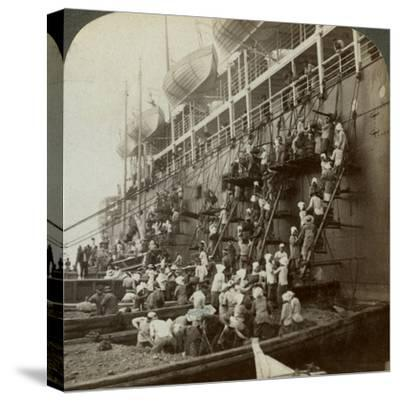Coaling the Pacific Mail Ss 'Siberia, at the Fortified Naval Station of Nagasaki, Japan, 1904-Underwood & Underwood-Stretched Canvas Print