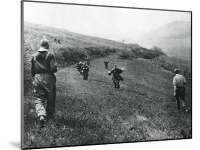 German Troops Surrendering to Soldiers of the American 1st Army, Near Elsborn, Germany, April 1945--Mounted Giclee Print