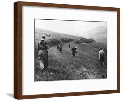 German Troops Surrendering to Soldiers of the American 1st Army, Near Elsborn, Germany, April 1945--Framed Giclee Print