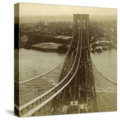 Brooklyn from One of the Towers of the Suspension Bridge, New York, USA--Stretched Canvas Print