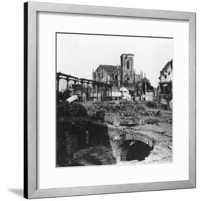 Damaged Exterior of the Church of St Vaast, Armentières, France, World War I, C1914-C1918- Nightingale & Co-Framed Giclee Print