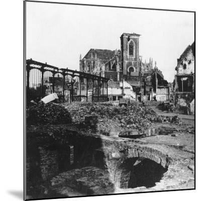 Damaged Exterior of the Church of St Vaast, Armentières, France, World War I, C1914-C1918- Nightingale & Co-Mounted Giclee Print