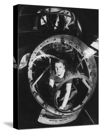 A Woman Working on a Lancaster Bomber, Second World War, 1940s--Stretched Canvas Print