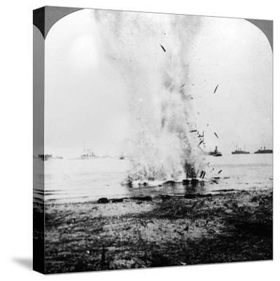 Trapped German Submarine Driven Inshore and Destroyed, World War I, 1914-1918--Stretched Canvas Print