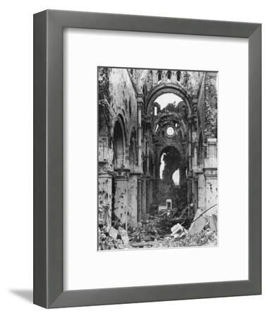 Damaged Interior of Albert Cathedral, France, World War I, C1914-C1918- Nightingale & Co-Framed Giclee Print