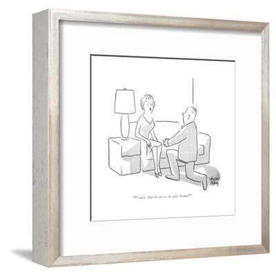 """Would that be gross or take-home?"" - New Yorker Cartoon-Chon Day-Framed Premium Giclee Print"