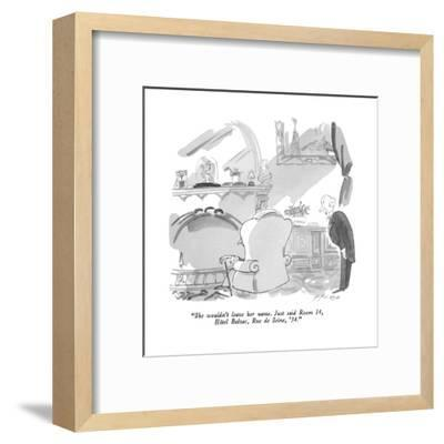 """She wouldn't leave her name.  Just said Room 14, Hôtel Balzac, Rue de Sei…"" - New Yorker Cartoon-Michael Ffolkes-Framed Premium Giclee Print"