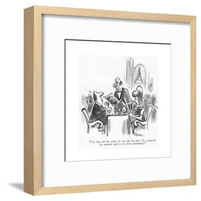 """""""You may tell the waiter he can take his time. I've conquered my neurotic ?"""" - New Yorker Cartoon-Lee Lorenz-Framed Premium Giclee Print"""
