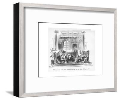 """""""The economy seems back on track, but I'm not sure about Collingwood."""" - New Yorker Cartoon-Lee Lorenz-Framed Premium Giclee Print"""