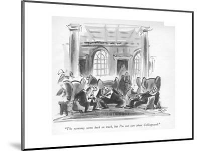 """""""The economy seems back on track, but I'm not sure about Collingwood."""" - New Yorker Cartoon-Lee Lorenz-Mounted Premium Giclee Print"""