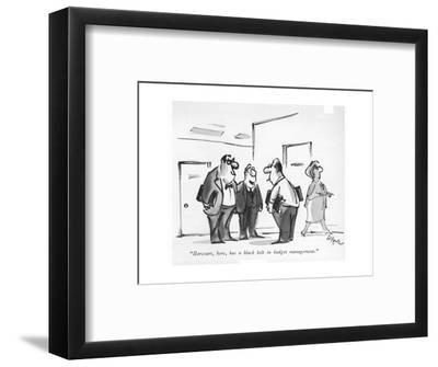 """Harcourt, here, has a black belt in budget management."" - New Yorker Cartoon-Lee Lorenz-Framed Premium Giclee Print"