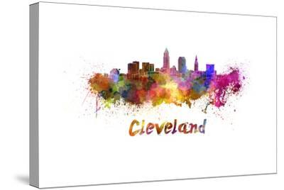 Cleveland Skyline in Watercolor-paulrommer-Stretched Canvas Print