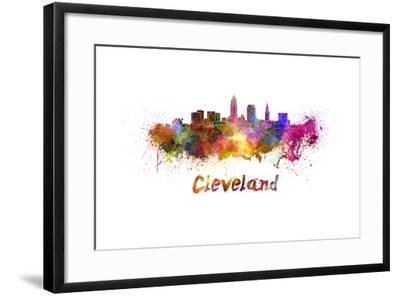 Cleveland Skyline in Watercolor-paulrommer-Framed Art Print
