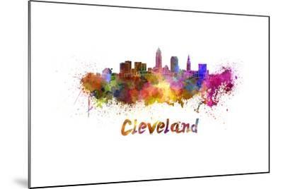 Cleveland Skyline in Watercolor-paulrommer-Mounted Art Print