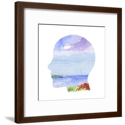 Human Profile with Sea Landscape- carlacastagno-Framed Art Print
