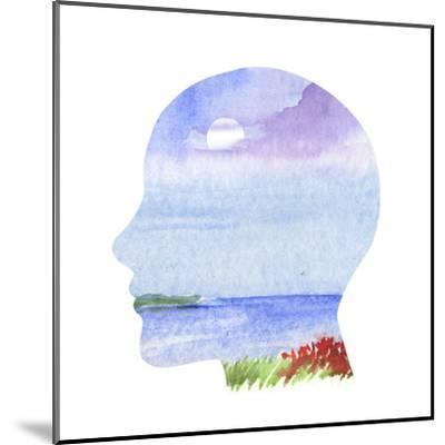 Human Profile with Sea Landscape- carlacastagno-Mounted Art Print