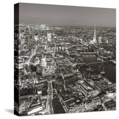 Night Aerial View of the Shard and City of London, London, England-Jon Arnold-Stretched Canvas Print