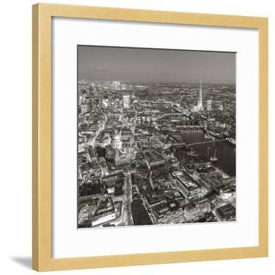 Night Aerial View of the Shard and City of London, London, England-Jon Arnold-Framed Photographic Print